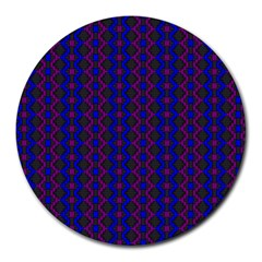 Split Diamond Blue Purple Woven Fabric Round Mousepads by AnjaniArt