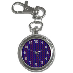 Split Diamond Blue Purple Woven Fabric Key Chain Watches by AnjaniArt