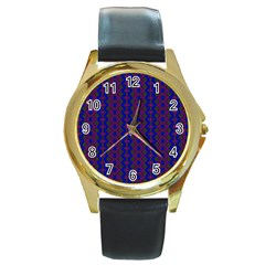 Split Diamond Blue Purple Woven Fabric Round Gold Metal Watch by AnjaniArt