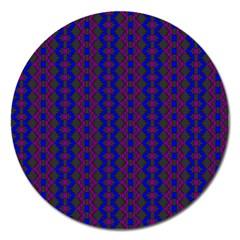 Split Diamond Blue Purple Woven Fabric Magnet 5  (round) by AnjaniArt
