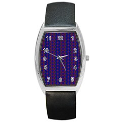 Split Diamond Blue Purple Woven Fabric Barrel Style Metal Watch by AnjaniArt