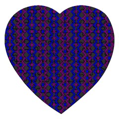 Split Diamond Blue Purple Woven Fabric Jigsaw Puzzle (heart) by AnjaniArt