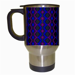 Split Diamond Blue Purple Woven Fabric Travel Mugs (white) by AnjaniArt