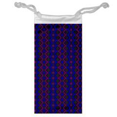 Split Diamond Blue Purple Woven Fabric Jewelry Bag by AnjaniArt