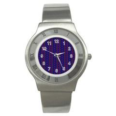 Split Diamond Blue Purple Woven Fabric Stainless Steel Watch by AnjaniArt