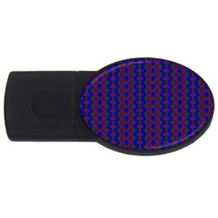 Split Diamond Blue Purple Woven Fabric Usb Flash Drive Oval (4 Gb) by AnjaniArt