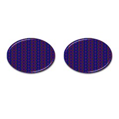 Split Diamond Blue Purple Woven Fabric Cufflinks (oval) by AnjaniArt