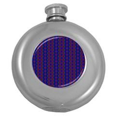 Split Diamond Blue Purple Woven Fabric Round Hip Flask (5 Oz) by AnjaniArt