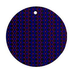 Split Diamond Blue Purple Woven Fabric Round Ornament (two Sides) by AnjaniArt