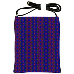 Split Diamond Blue Purple Woven Fabric Shoulder Sling Bags by AnjaniArt