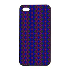 Split Diamond Blue Purple Woven Fabric Apple Iphone 4/4s Seamless Case (black) by AnjaniArt