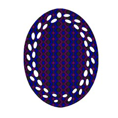Split Diamond Blue Purple Woven Fabric Oval Filigree Ornament (two Sides) by AnjaniArt