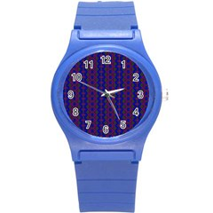 Split Diamond Blue Purple Woven Fabric Round Plastic Sport Watch (s) by AnjaniArt
