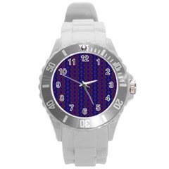 Split Diamond Blue Purple Woven Fabric Round Plastic Sport Watch (l) by AnjaniArt