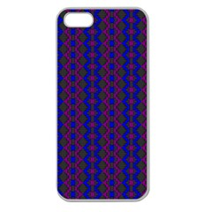 Split Diamond Blue Purple Woven Fabric Apple Seamless Iphone 5 Case (clear) by AnjaniArt