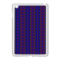 Split Diamond Blue Purple Woven Fabric Apple Ipad Mini Case (white) by AnjaniArt