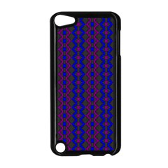 Split Diamond Blue Purple Woven Fabric Apple Ipod Touch 5 Case (black) by AnjaniArt