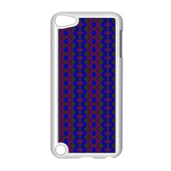 Split Diamond Blue Purple Woven Fabric Apple Ipod Touch 5 Case (white) by AnjaniArt