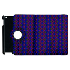 Split Diamond Blue Purple Woven Fabric Apple Ipad 3/4 Flip 360 Case by AnjaniArt