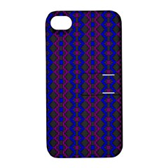 Split Diamond Blue Purple Woven Fabric Apple Iphone 4/4s Hardshell Case With Stand by AnjaniArt