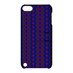Split Diamond Blue Purple Woven Fabric Apple Ipod Touch 5 Hardshell Case With Stand by AnjaniArt