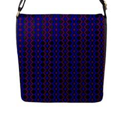 Split Diamond Blue Purple Woven Fabric Flap Messenger Bag (l)  by AnjaniArt