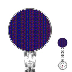 Split Diamond Blue Purple Woven Fabric Stainless Steel Nurses Watch by AnjaniArt
