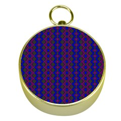 Split Diamond Blue Purple Woven Fabric Gold Compasses by AnjaniArt