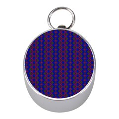 Split Diamond Blue Purple Woven Fabric Mini Silver Compasses by AnjaniArt