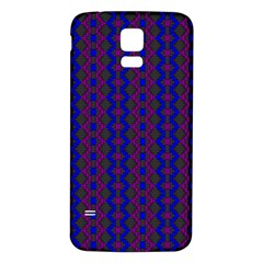Split Diamond Blue Purple Woven Fabric Samsung Galaxy S5 Back Case (white) by AnjaniArt