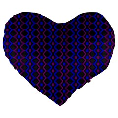 Split Diamond Blue Purple Woven Fabric Large 19  Premium Flano Heart Shape Cushions by AnjaniArt