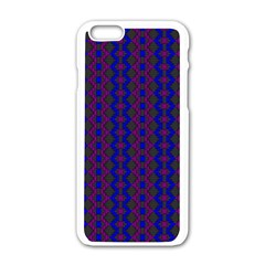 Split Diamond Blue Purple Woven Fabric Apple Iphone 6/6s White Enamel Case by AnjaniArt
