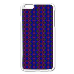 Split Diamond Blue Purple Woven Fabric Apple Iphone 6 Plus/6s Plus Enamel White Case by AnjaniArt