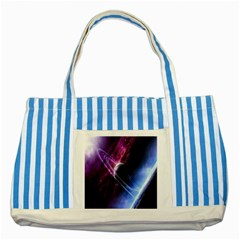 Space Pelanet Saturn Galaxy Striped Blue Tote Bag by AnjaniArt