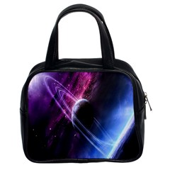 Space Pelanet Saturn Galaxy Classic Handbags (2 Sides) by AnjaniArt