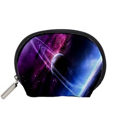 Space Pelanet Saturn Galaxy Accessory Pouches (small)  by AnjaniArt
