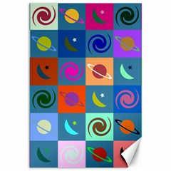 Space Month Saturnus Planet Star Hole Multicolor Canvas 12  X 18   by AnjaniArt