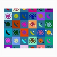 Space Month Saturnus Planet Star Hole Multicolor Small Glasses Cloth (2 Side) by AnjaniArt
