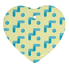 Squiggly Dot Pattern Blue Yellow Circle Ornament (heart) by AnjaniArt