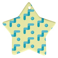 Squiggly Dot Pattern Blue Yellow Circle Ornament (star) by AnjaniArt