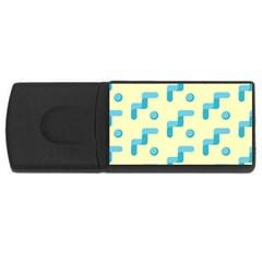 Squiggly Dot Pattern Blue Yellow Circle Usb Flash Drive Rectangular (4 Gb) by AnjaniArt