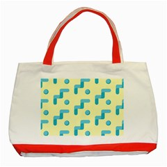 Squiggly Dot Pattern Blue Yellow Circle Classic Tote Bag (red) by AnjaniArt