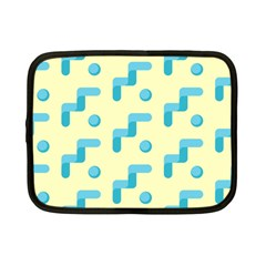 Squiggly Dot Pattern Blue Yellow Circle Netbook Case (small)  by AnjaniArt