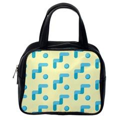 Squiggly Dot Pattern Blue Yellow Circle Classic Handbags (one Side) by AnjaniArt