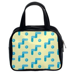 Squiggly Dot Pattern Blue Yellow Circle Classic Handbags (2 Sides) by AnjaniArt
