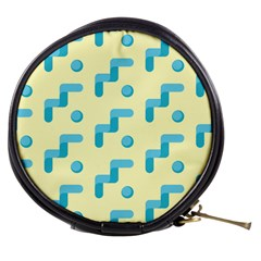 Squiggly Dot Pattern Blue Yellow Circle Mini Makeup Bags by AnjaniArt