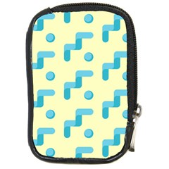 Squiggly Dot Pattern Blue Yellow Circle Compact Camera Cases by AnjaniArt