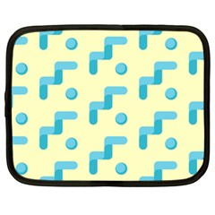 Squiggly Dot Pattern Blue Yellow Circle Netbook Case (xxl)  by AnjaniArt