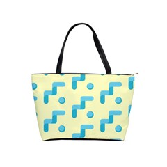 Squiggly Dot Pattern Blue Yellow Circle Shoulder Handbags by AnjaniArt
