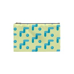 Squiggly Dot Pattern Blue Yellow Circle Cosmetic Bag (small)  by AnjaniArt